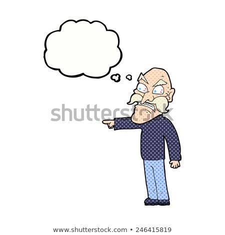 Cartoon wściekły stary bubble myśl strony człowiek Zdjęcia stock © lineartestpilot