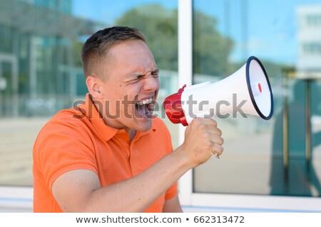 Ayakta adam megafon beyaz konuşmacı Stok fotoğraf © wavebreak_media