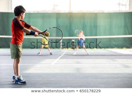 nino · raqueta · de · tenis · alegre · sonrisa · cara · pelota - foto stock © nizhava1956