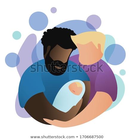 gay marriage vector flat illustration. Stock photo © maximmmmum