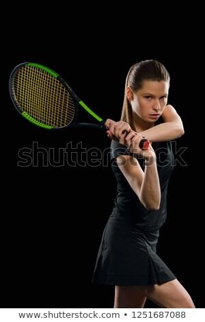 筋肉の · 若い女性 · 選手 · 見える · カメラ · 黒 - ストックフォト © master1305