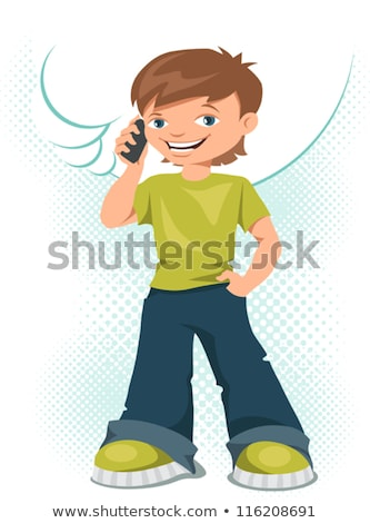 cute handsome young boy speaking with a mobile phone stock photo © meinzahn