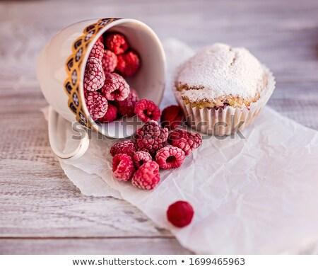 Lampone muffins top view fatto in casa focaccina Foto d'archivio © hraska