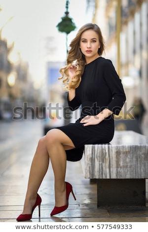 szabadtér · portré · gyönyörű · hölgy · utca · visel - stock fotó © dashapetrenko