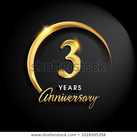 3rd anniversary celebration badge label in golden color Stock photo © SArts
