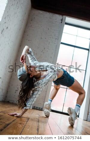 Alulról fotózva kilátás vonzó táncos rövidnadrág berendezés Stock fotó © dash
