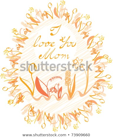 ovale · frame · calligrafia · amore · mamma · fiori - foto d'archivio © synentchenko