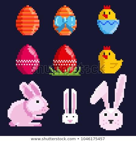 páscoa · sete · pintado · ovos · vela · preto - foto stock © carodi