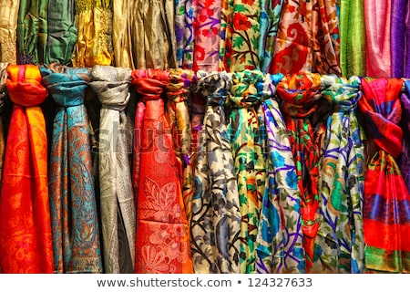 Colorful textiles on the market Stock photo © boggy