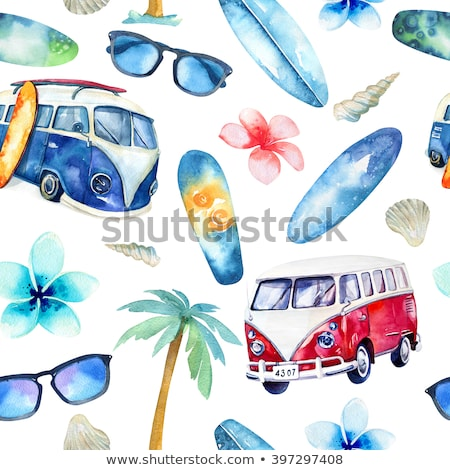 Stock photo: Surfing car pattern. Vintage hand drawn surf wagon with surfboard pattern. Aloha time quote typograp