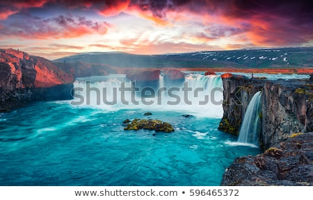 beautiful landscape in iceland with godafoss waterfall stock photo © kotenko