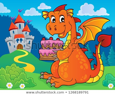 Dragon holding cake theme image 3 Stock photo © clairev