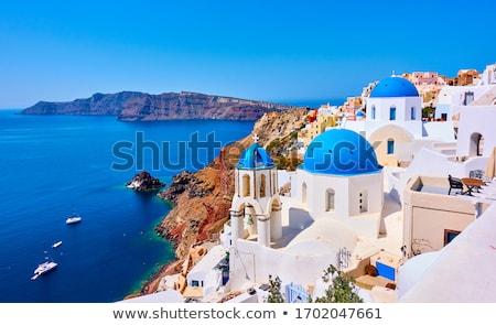 Hagyományos kék kupola tenger Santorini templom Stock fotó © neirfy