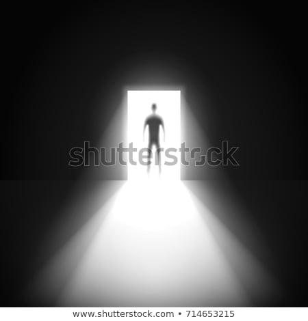 Alleen zakenman permanente donkere kamer knap Stockfoto © ra2studio