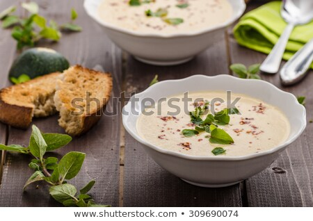 Sarımsak krem çorba füme sosis Stok fotoğraf © grafvision