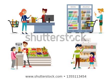 supermarket stores department bakery set vector stock photo © robuart