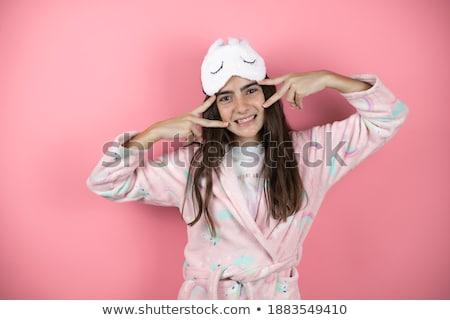 Dwa wesoły dziewcząt piżama stałego Zdjęcia stock © deandrobot