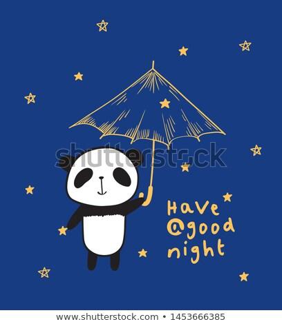 panda in zoo in raining night stock photo © colematt