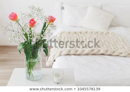 Rózsaszín fehér tulipánok üveg fény szürke Stock fotó © Melnyk