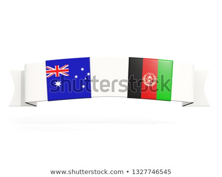 Banner with two square flags of Australia and afghanistan Stock photo © MikhailMishchenko
