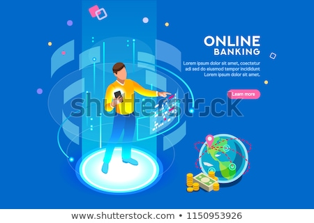 Touch the future and 3d smartphone futuristic concept. Stock photo © RAStudio