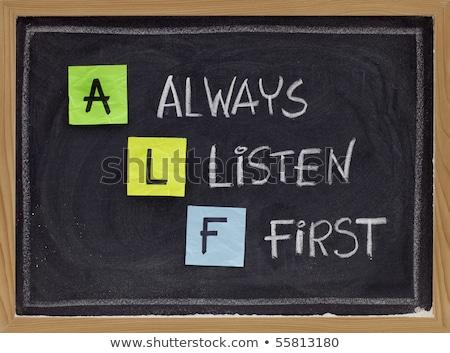 Always Listen First ALF Concept Foto d'archivio © ivelin