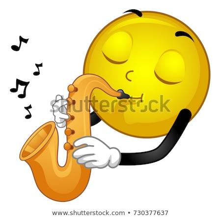 Kabala emotikon szaxofon illusztráció játszik zene Stock fotó © lenm