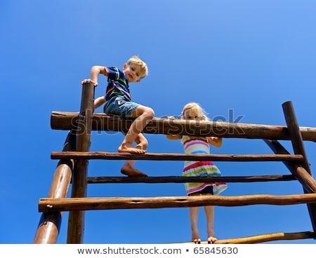 iki · genç · kız · arkadaşlar · oturma · açık · havada · oynama - stok fotoğraf © elenabatkova