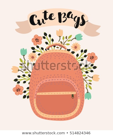 Cute girl with a backpack in the hands of looks in the mirror stock photo © ElenaBatkova