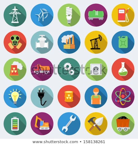 electricity flat icons set stock photo © netkov1