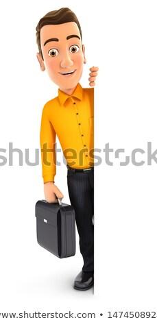 Uomo 3d valigia dietro muro illustrazione isolato Foto d'archivio © 3dmask