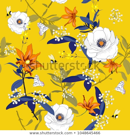 Stock photo: Seamless yellow flowers floral pattern