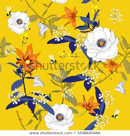 Seamless yellow flowers floral pattern stock photo © lemony