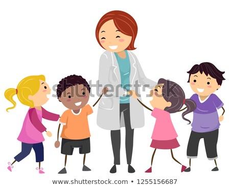 Kinderen psychiater arts illustratie kinderen spelen groep Stockfoto © lenm