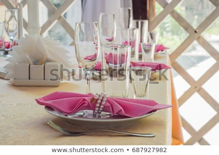 Table setting at a luxury wedding decorated with Pink wipes Stock photo © galitskaya