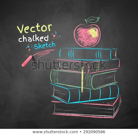 Tiza ilustración manzana libros vector Foto stock © Sonya_illustrations