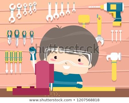 Kid Boy Woodwork Illustration Stock photo © lenm