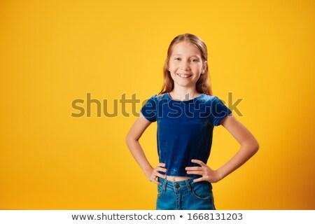 Portret mały dziewczyna uśmiechnięty dumny Zdjęcia stock © diego_cervo