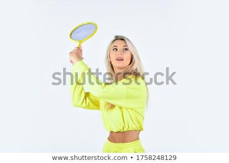 sportos · lány · tart · tollaslabda · ütő · játszik - stock fotó © stuartmiles