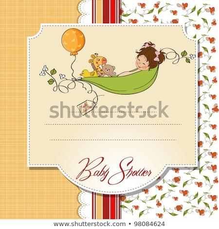 Kislány baba közlemény kártya lány születésnap Stock fotó © balasoiu