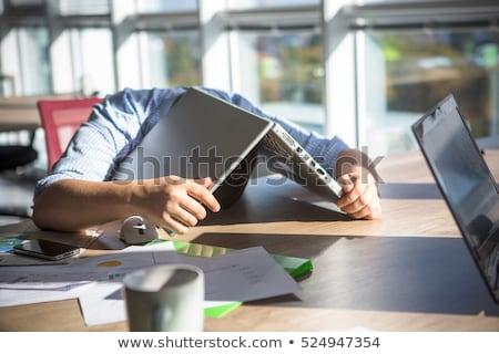 Unalmas munka férfi halom ceruzák asztal Stock fotó © Stocksnapper