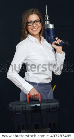 Frau halten Werkzeugkasten Industrie Hammer Stahl Stock foto © photography33