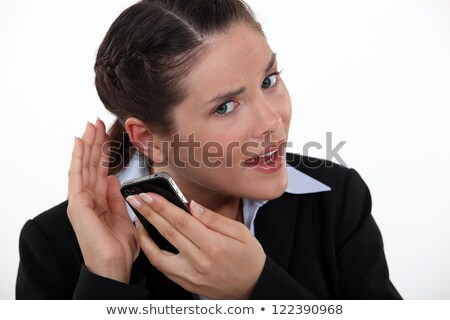 Woman struggling to hear telephone Stock photo © photography33