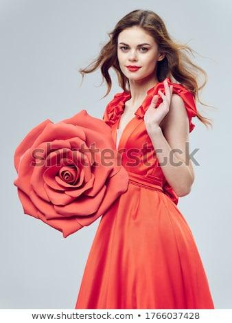 lippen · Rood · rose · mooie · meisje · gezicht · vrouwen - stockfoto © nejron