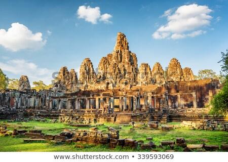 Angkor stad Cambodja muur steen architectuur Stockfoto © prill
