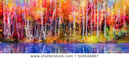 Foto stock: Trees On Green Meadow And Water Splash