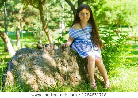 Meisje lang haar groene ogen mooie brunette vroeg Stockfoto © lubavnel
