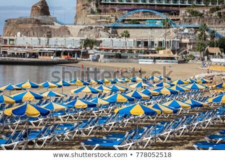 Empty sunbeds at the beach at Gran Canaria Stock photo © olandsfokus