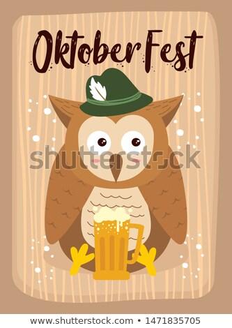 啤酒節 貓頭鷹 插圖 工作 鳥 工人 商業照片 © adrenalina