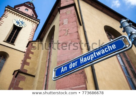 Placa de la calle cielo azul Frankfurt Foto stock © meinzahn